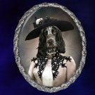 English Cocker Spaniel Jewelry Brooch Handcrafted Ceramic - Retro Lady