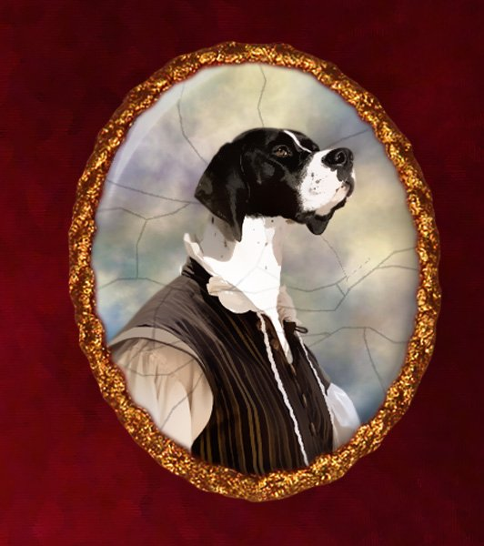 English Pointer Jewelry Brooch Handcrafted Ceramic - Noble Duke