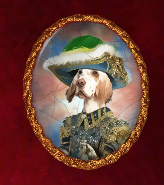 English Setter Jewelry Brooch Handcrafted Ceramic - Blue Pirate