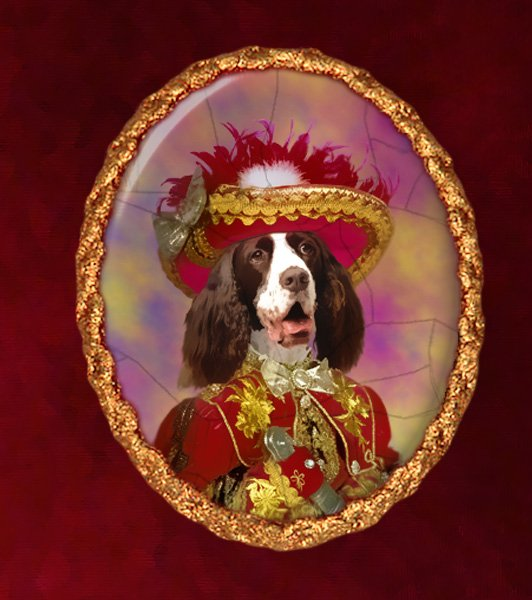 English Springer Spaniel Jewelry Brooch Handcrafted Ceramic - Pirate
