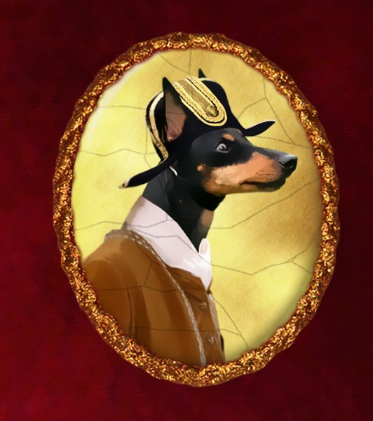 English Toy Terrier Jewelry Brooch Handcrafted Ceramic - Young Soldier