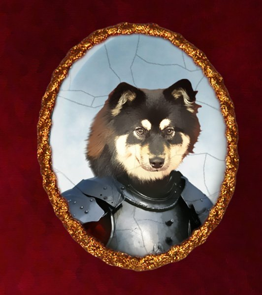Finnish Lapphund Jewelry Brooch Handcrafted Ceramic - Knight