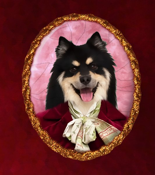Finnish Lapphund Jewelry Brooch Handcrafted Ceramic - Red Lady