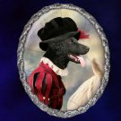 Flat Coated Retriever Jewelry Brooch Handcrafted Ceramic - Lady