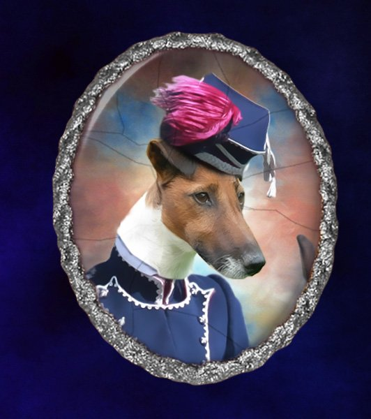 Fox Terrier Jewelry Brooch Handcrafted Ceramic - Hussar Lady