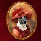 Fox Terrier Jewelry Brooch Handcrafted Ceramic - Lady with Red Hat
