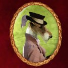 Fox Terrier Jewelry Brooch Handcrafted Ceramic - Hunter Lady