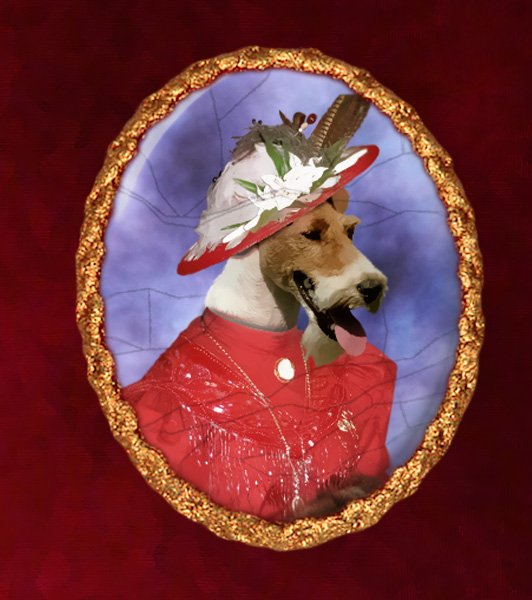 Fox Terrier Jewelry Brooch Handcrafted Ceramic - Red Lady