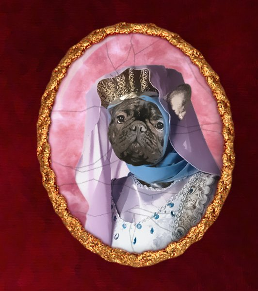 French Bulldog Jewelry Brooch Handcrafted Ceramic - Middle Age Princess