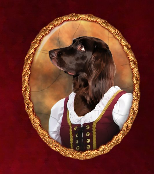 German Long Haired Pointer Jewelry Brooch Handcrafted Ceramic - Lady