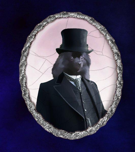 Spitz Jewelry Brooch Handcrafted Ceramic - Black Gentleman