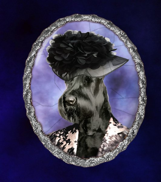 Giant Schnauzer Jewelry Brooch Handcrafted Ceramic - Black Lady