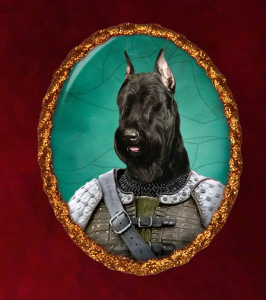 Giant Schnauzer Jewelry Brooch Handcrafted Ceramic - Knight