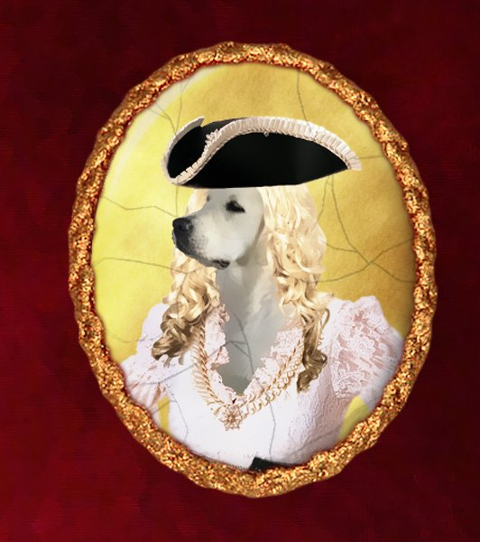 Golden Retriever Jewelry Brooch Handcrafted Ceramic - Lady Pirate
