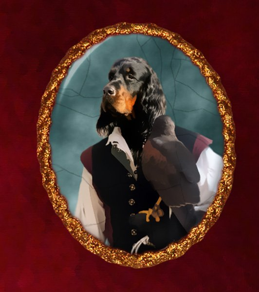 Gordon Setter Jewelry Brooch Handcrafted Ceramic - Falconer