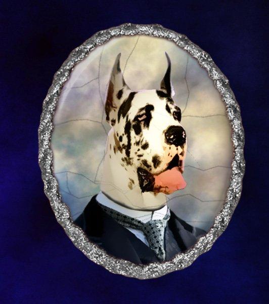 Great Dane Jewelry Brooch Handcrafted Ceramic - Gentleman