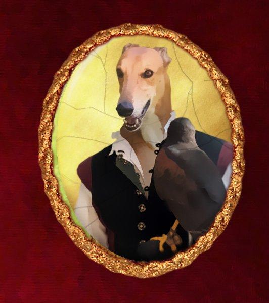 Greyhound Jewelry Brooch Handcrafted Ceramic - Falconer
