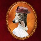 Greyhound Jewelry Brooch Handcrafted Ceramic - Lady With Small Hat