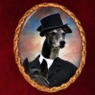 Greyhound Jewelry Brooch Handcrafted Ceramic - Master of Hunt