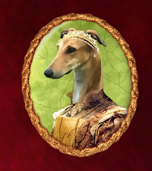 Greyhound Jewelry Brooch Handcrafted Ceramic - Noble Lady
