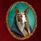 Ibizan Hound Jewelry Brooch Handcrafted Ceramic - Middle Age Princess