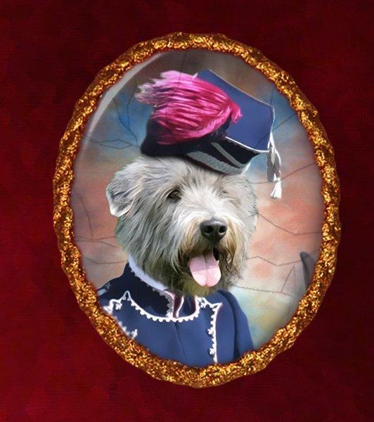 Irish Glen of Imaal Terrier Jewelry Brooch Handcrafted Ceramic - Hussar Lady