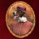 Irish Red and White Setter Jewelry Brooch Handcrafted Ceramic - Lady with Hat