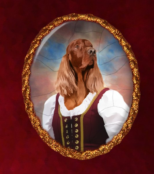 Irish Setter Jewelry Brooch Handcrafted Ceramic - Middle Age Lady