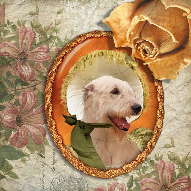 Irish Wolfhound Jewelry Brooch Handcrafted Ceramic - Happy Lady