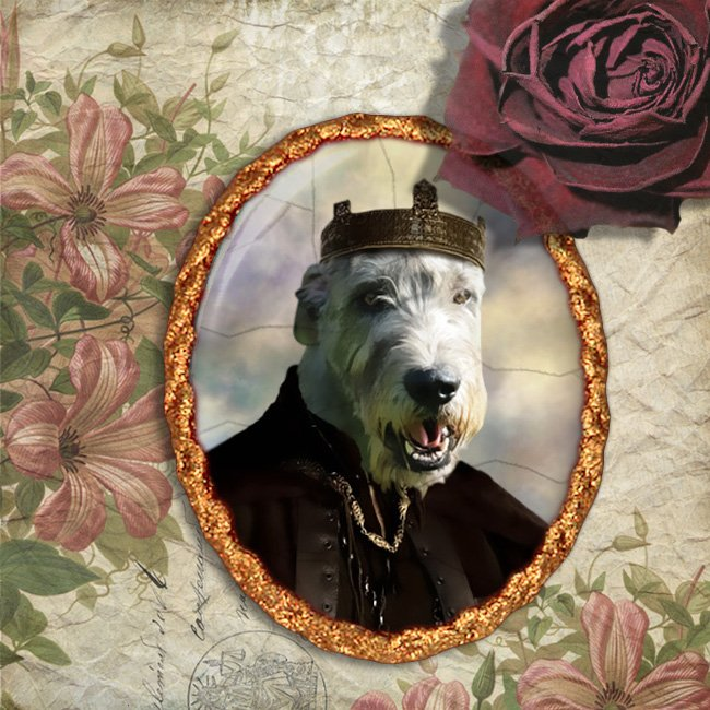 Irish Wolfhound Jewelry Brooch Handcrafted Ceramic - King Arthur Gold Frame