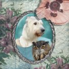 Irish Wolfhound Jewelry Brooch Handcrafted Ceramic - Lady Owl Silver Frame