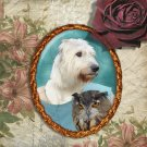 Irish Wolfhound Jewelry Brooch Handcrafted Ceramic - Lady Owl Gold Frame