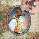 Italian Greyhound Jewelry Brooch Handcrafted Ceramic - Fencer Silver Frame