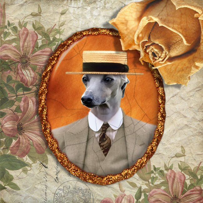 Italian Greyhound Jewelry Brooch Handcrafted Ceramic - Gentleman with Girardo Hat