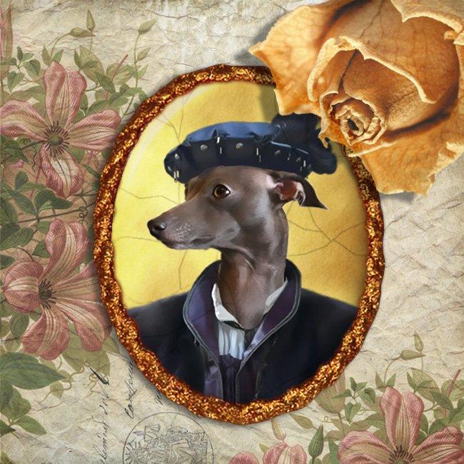 Italian Greyhound Jewelry Brooch Handcrafted Ceramic - Noble Black Duke