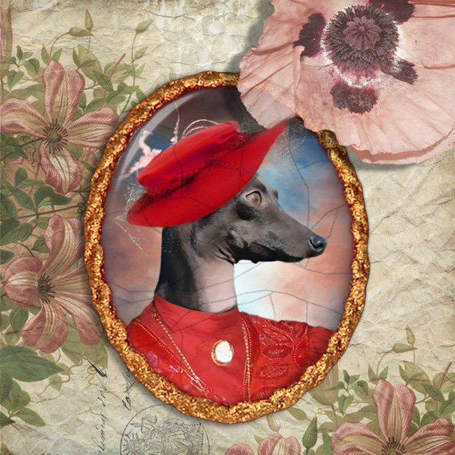 Italian Greyhound Jewelry Brooch Handcrafted Ceramic - Red Lady Gold Frame