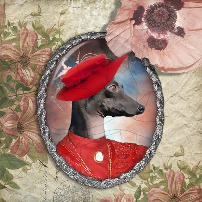 Italian Greyhound Jewelry Brooch Handcrafted Ceramic - Red Lady Silver Frame