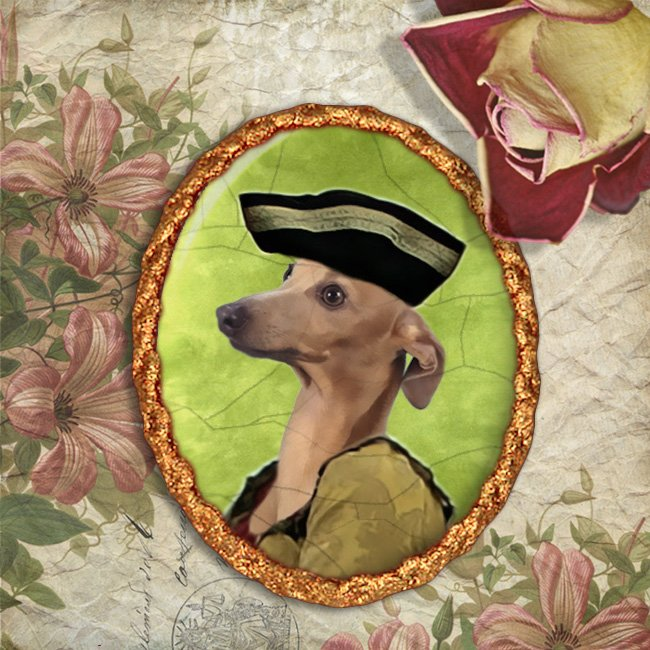 Italian Greyhound Jewelry Brooch Handcrafted Ceramic - Sweet Lady
