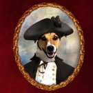 Jack Russell Terrier Jewelry Brooch Handcrafted Ceramic - Admiral Gold Frame