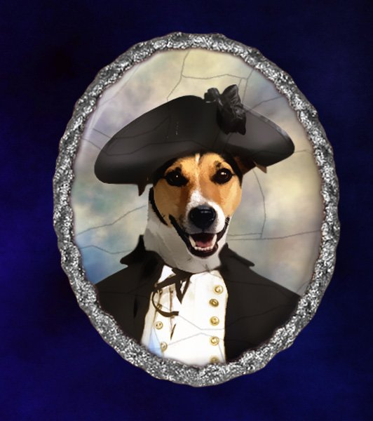 Jack Russell Terrier Jewelry Brooch Handcrafted Ceramic - Admiral Silver Frame