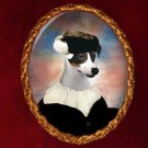 Jack Russell Terrier Jewelry Brooch Handcrafted Ceramic - Black Lady