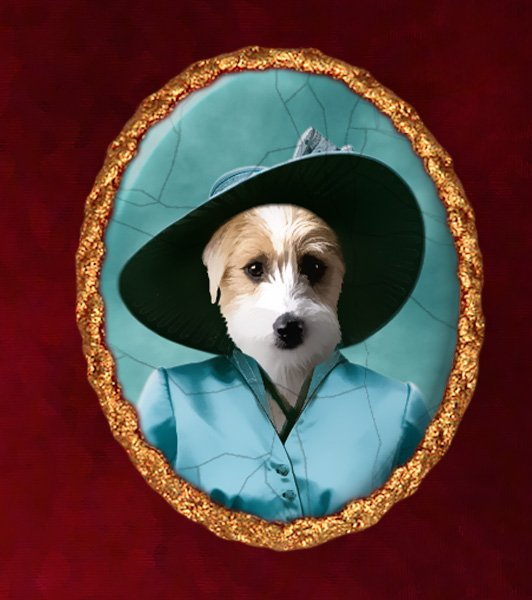 Jack Russell Terrier Jewelry Brooch Handcrafted Ceramic - Blue Lady Gold Frame