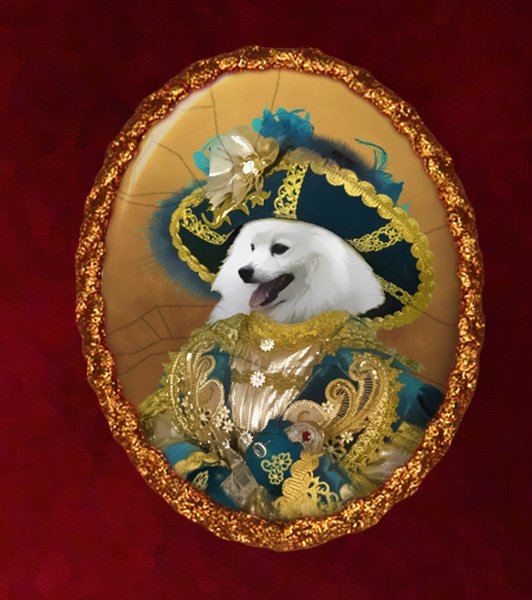 Japanese Spitz Jewelry Brooch Handcrafted Ceramic - Pirate