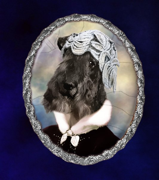 Kerry Blue Terrier Jewelry Brooch Handcrafted Ceramic - Black Lady Silver Frame