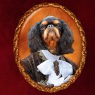 King Charles Spaniel Jewelry Brooch Handcrafted Ceramic - Royal Gentleman
