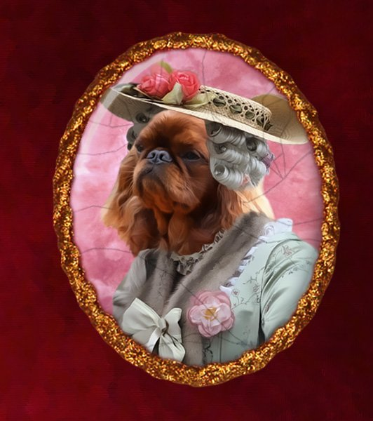 King Charles Spaniel Jewelry Brooch Handcrafted Ceramic - Royal Lady