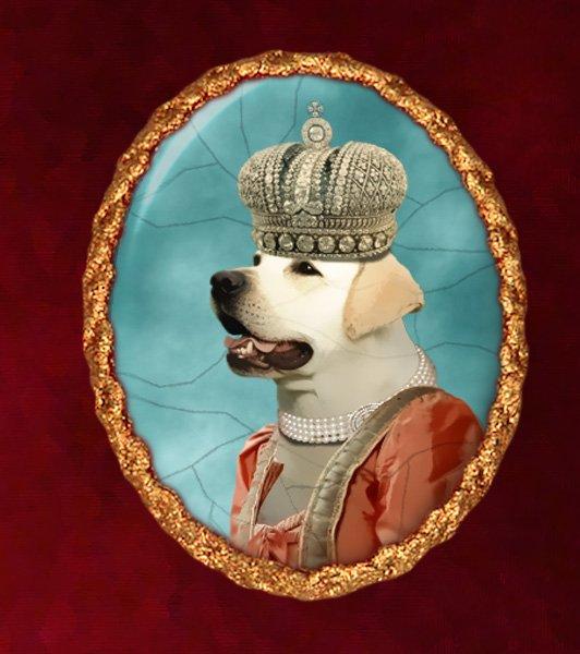 Labrador Retriever Jewelry Brooch Handcrafted Ceramic - Queen