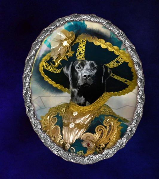 Labrador Retriever Jewelry Brooch Handcrafted Ceramic - Pirate Silver Frame