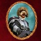 Lagotto Romagnolo Jewelry Brooch Handcrafted Ceramic - Knight Gold Frame
