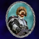 Lagotto Romagnolo Jewelry Brooch Handcrafted Ceramic - Knight Silver Frame